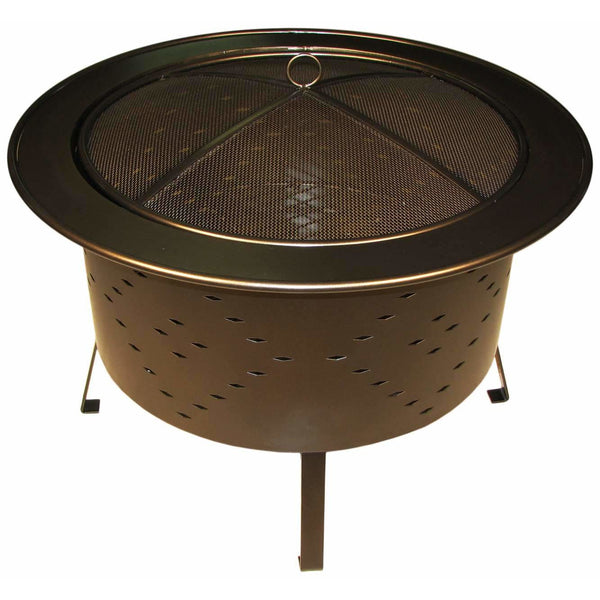 "Buck Stove Wood Burning Fire Pit 30"" Bronze Diamond Cut Outs RDFP30-BZ"
