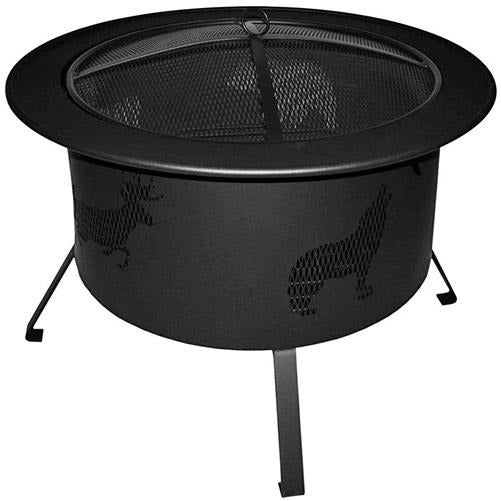 "Buck Stove Wood Burning Fire Pit 30"" Black with Wildlife Cut Outs RWLFP30-BK"