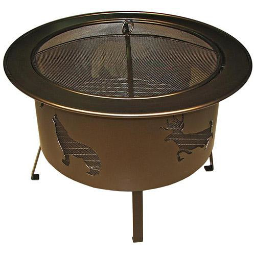 "Buck Stove Wood Burning Fire Pit 30"" Bronze with Wildlife Cut Outs RWLFP30-BZ"