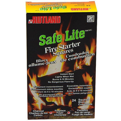 Rutland Safe Lite Fire Starter Squares, 24 squares - Bourlier's Barbecue and Fireplace