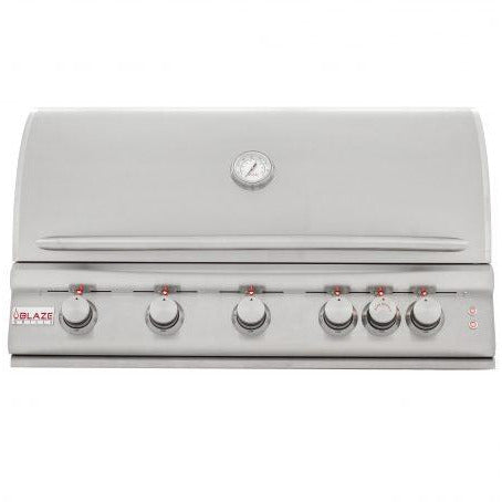 "Blaze Outdoor Products 40"" 5-Burner Propane Gas Grill with Rear Burner and Built-In Lighting System"