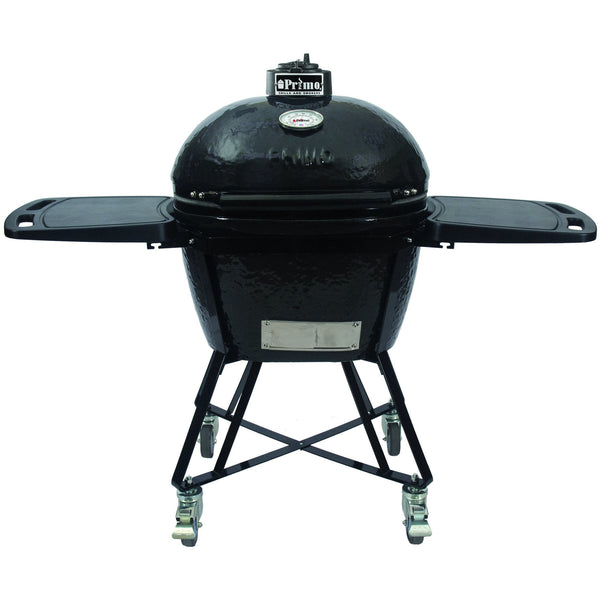 Primo All-In-One Oval Large Ceramic Kamado Grill With Cradle & Side Shelves - 7500 - Bourlier's Barbecue and Fireplace