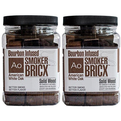 Smoker Bricx Bourbon Infused American Oak BBQ Smoking Chunks 32oz (2-Pack) - Bourlier's Barbecue and Fireplace