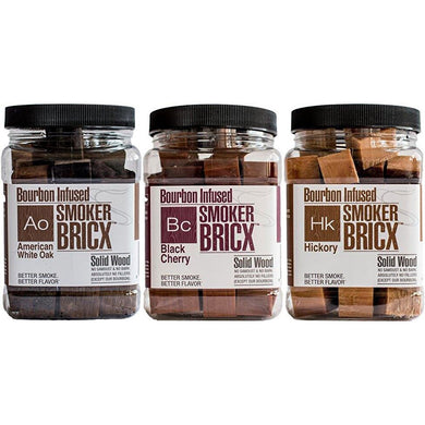 Smoker Bricx Bourbon Infused BBQ Smoking Chunks 32oz, 3 Pack - American Oak, Black Cherry, and Hickory - Bourlier's Barbecue and Fireplace