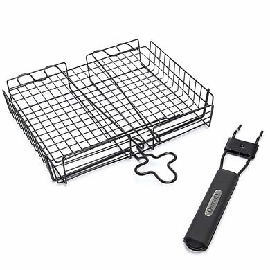 GrillPro 24876 Deluxe Non-Stick Broiler Basket with Detachable Handle - Bourlier's Barbecue and Fireplace