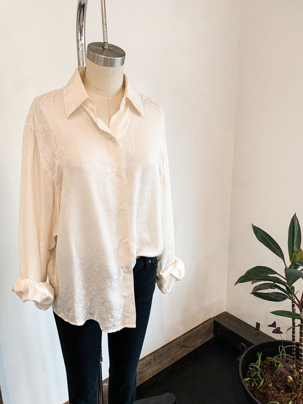 Rosette Embossed Silk Button up Blouse