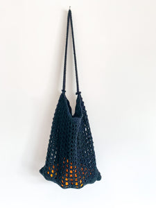 Crocheted Black Shopping Bag