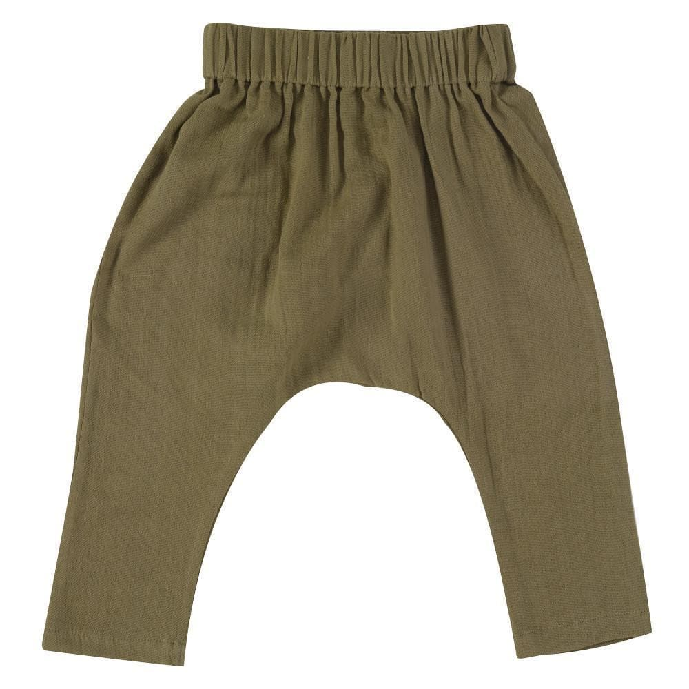 Baggy Pants in Mussola di cotone Olive - Pigeon - Tabata Shop