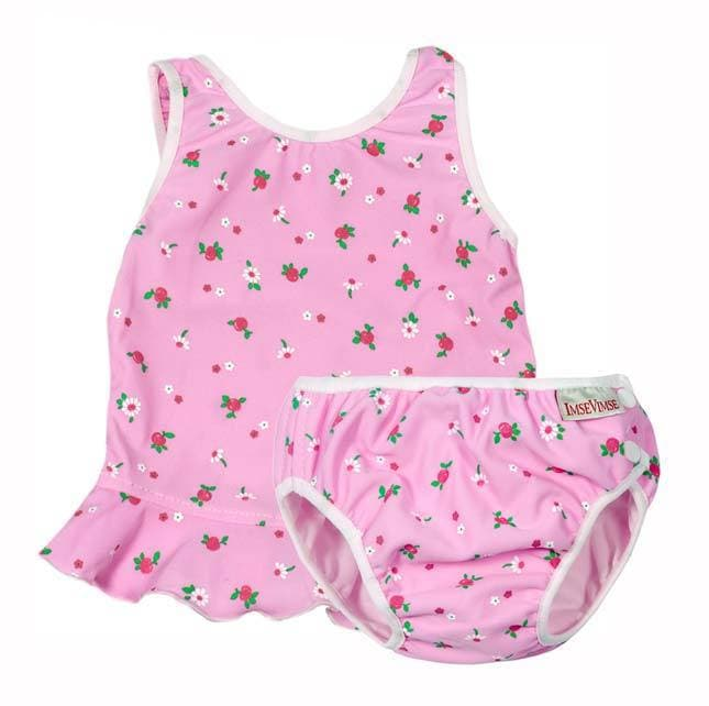 Costume contenitivo due pezzi Imse Vimse - Pink white flower - Tabata Shop