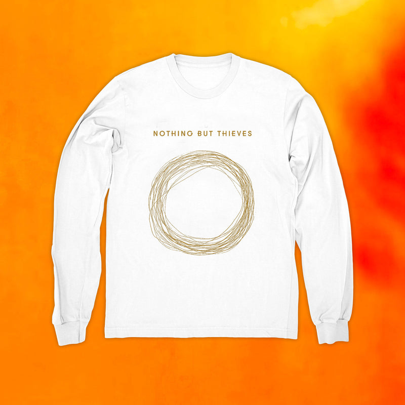 GOLD CIRCLE LOGO LONGSLEEVE WHITE T-SHIRT