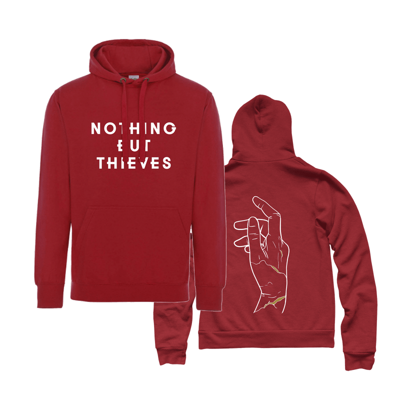 RED HOODY WITH HAND BACK PRINT