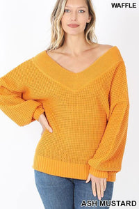 Kyra V-Neck Waffle Sweater - The Catalina Rose