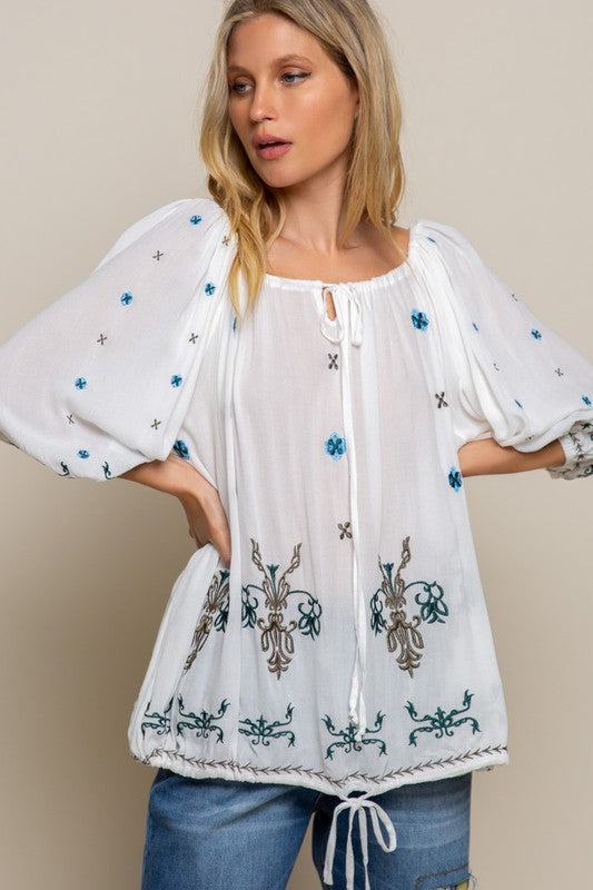 Kato Embroidered Woven Top