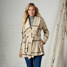 Load image into Gallery viewer, Winchester Tan Plaid Coat - The Catalina Rose