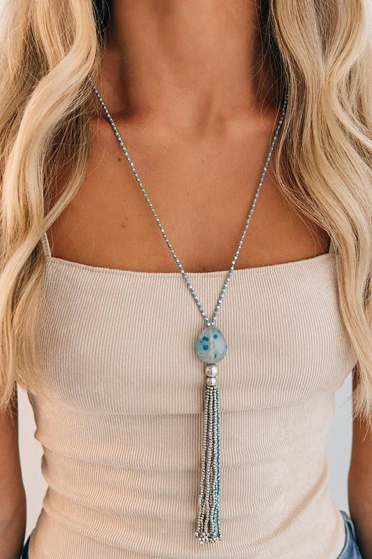 Blue Beaded Tassel Necklace - The Catalina Rose