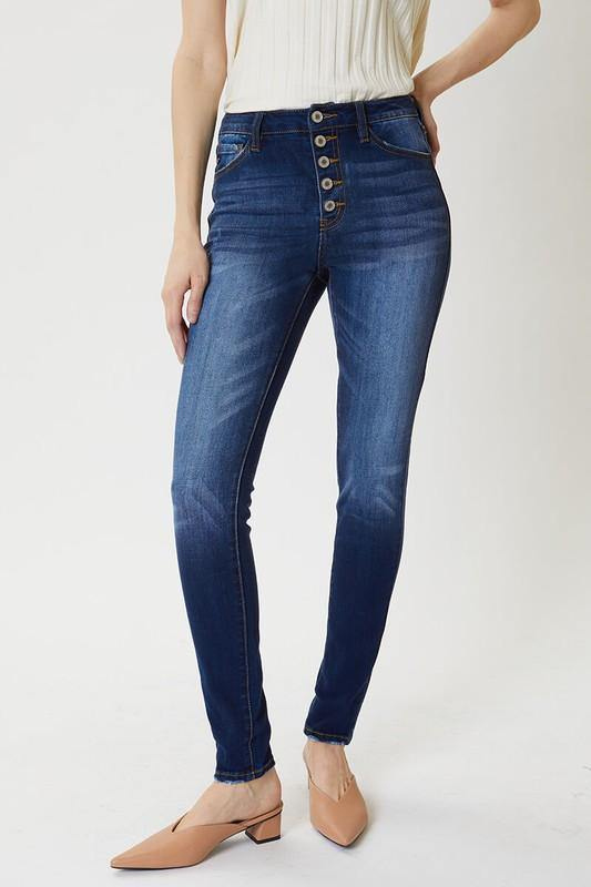 Betty High Rise Button Fly Super Skinny Jeans - The Catalina Rose