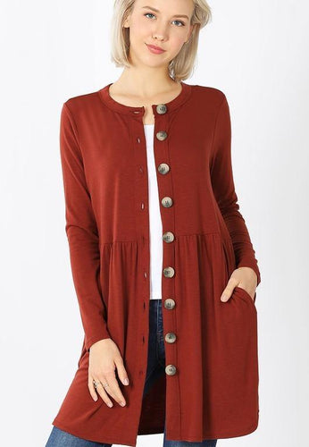 Cora Shirred Waist Cardigan - The Catalina Rose