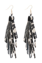 Load image into Gallery viewer, Printed Leather Tassel Earrings