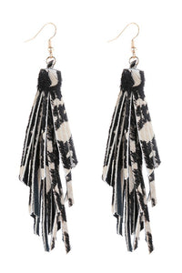 Printed Leather Tassel Earrings