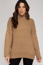 Load image into Gallery viewer, Frosty Cable Knit Turtle Neck Sweater