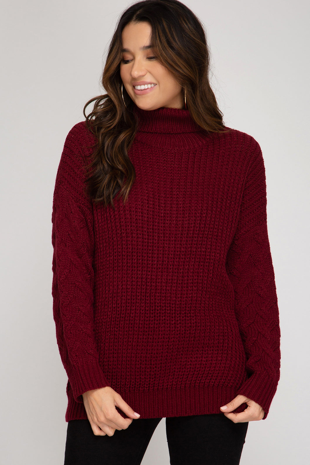 Frosty Cable Knit Turtle Neck Sweater