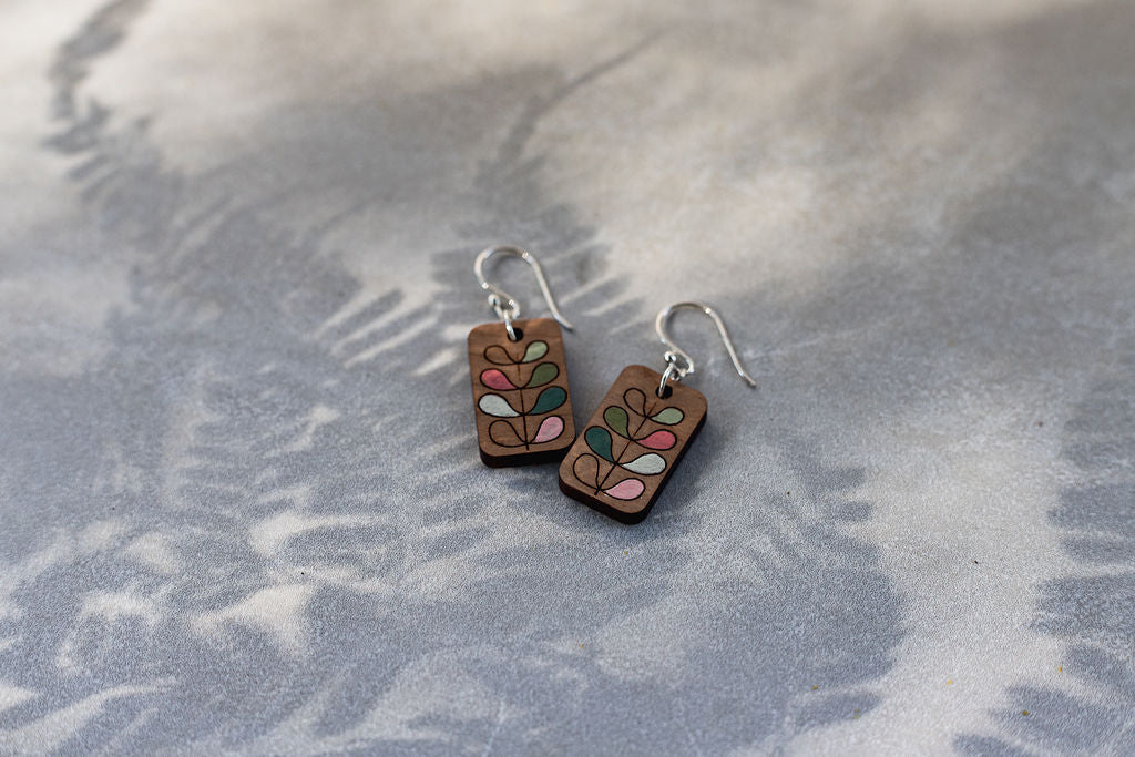 Autumn Wooden Drop Earrings
