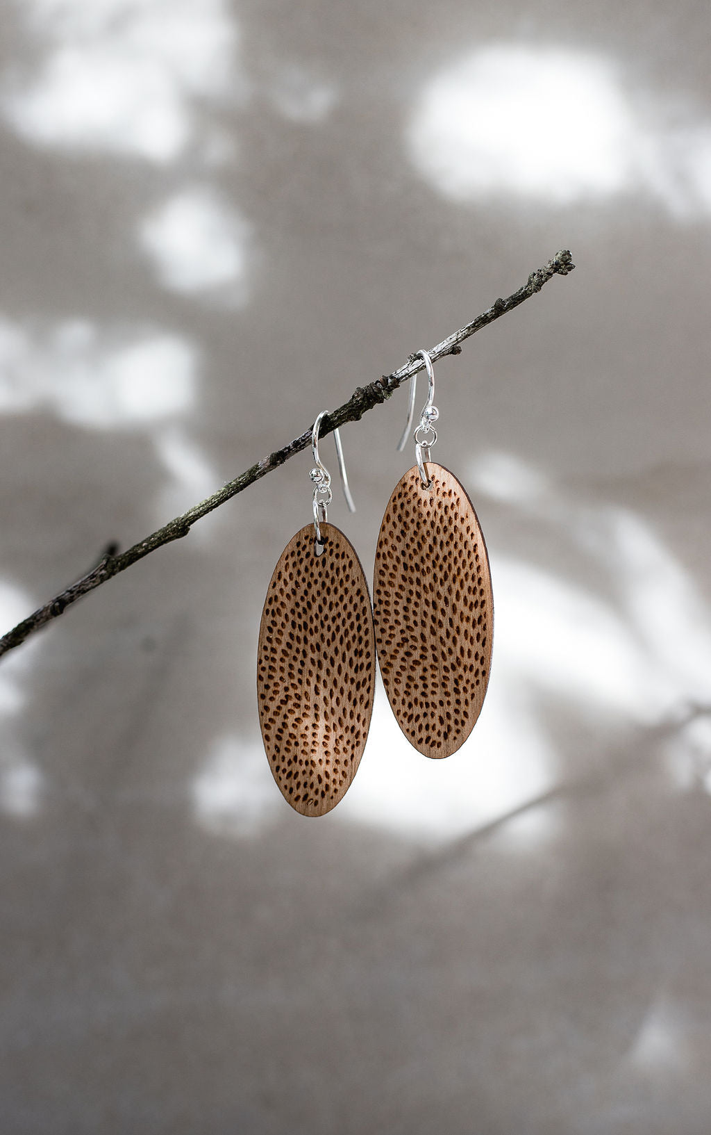 Leopard Print Wooden Oval Earrings