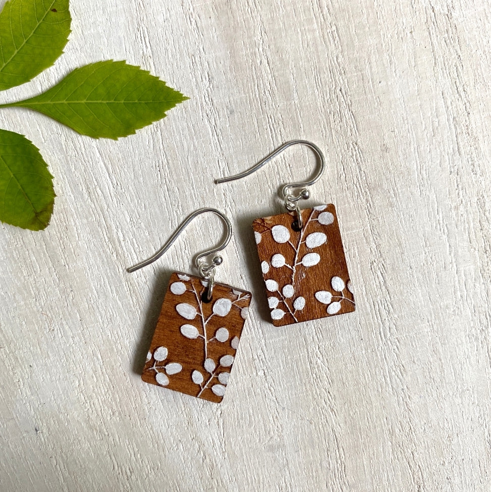 Botanical Wood Drop Earrings