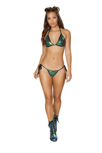 2pc Low Rise Tie Side Sequin Bikini Set