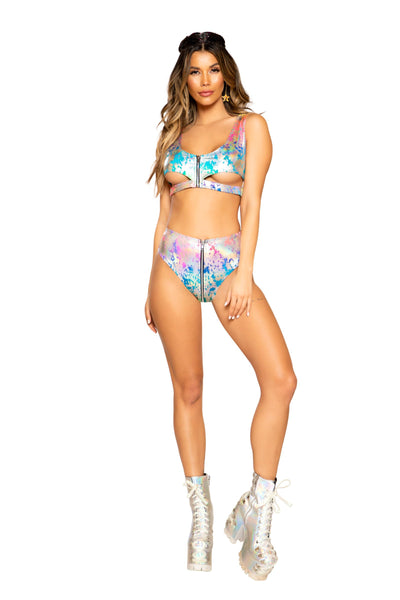 3743 - Rainbow Splash High-Waisted Shorts with Zipper Closure