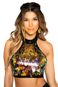 3757 - Tear Drop Sequin Crop Top