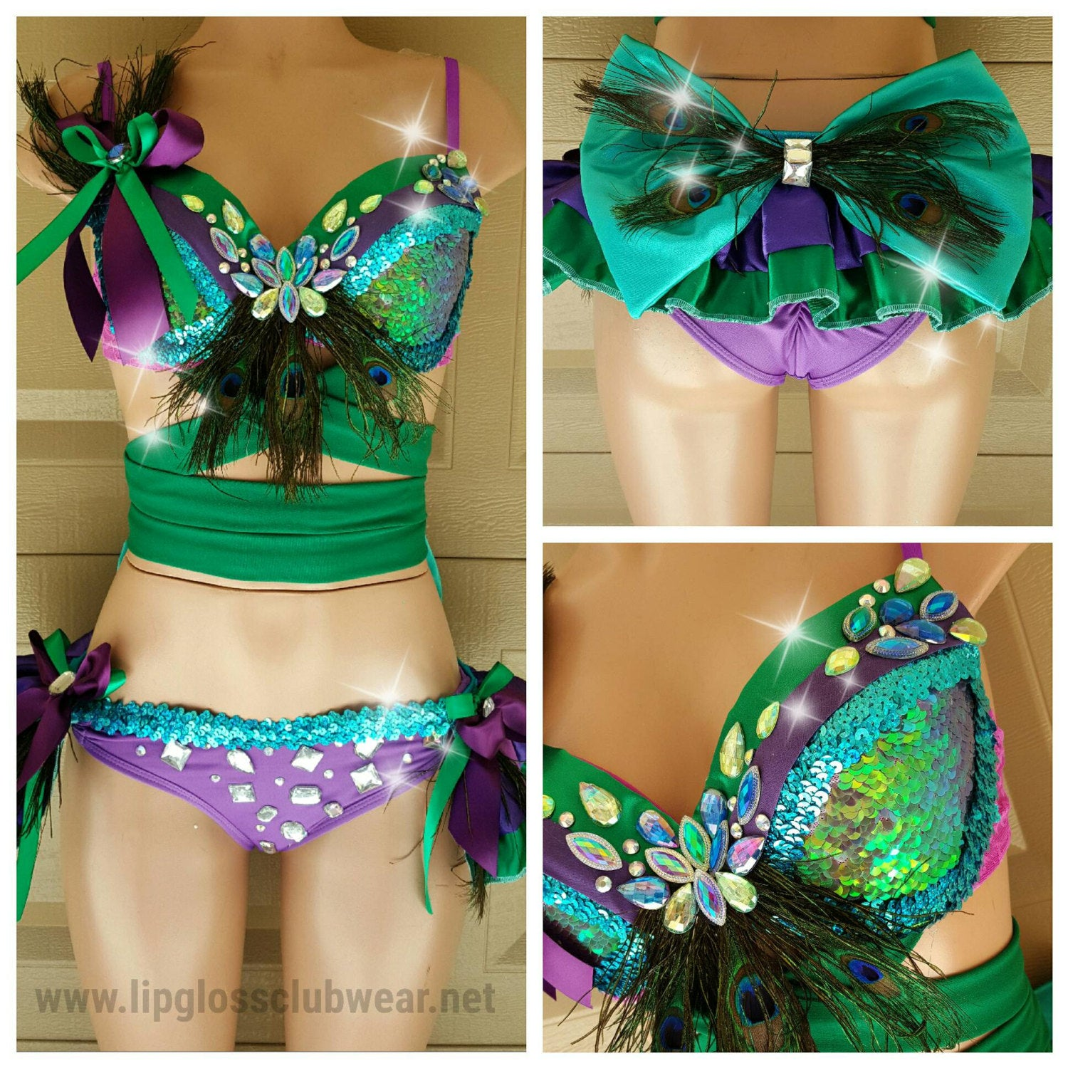 Purple Green Peacock Costume