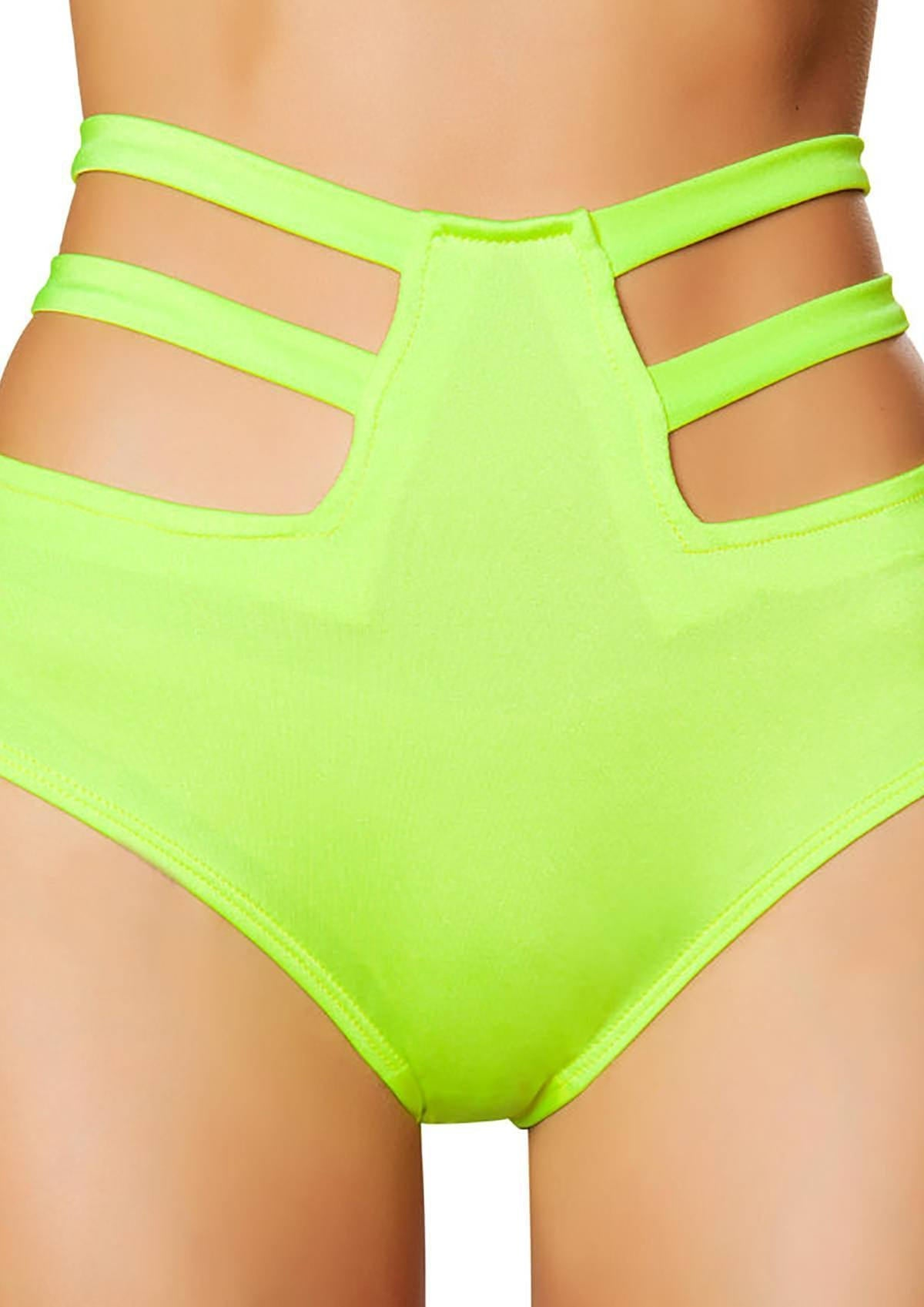 Lime Green High Waist Strappy Shorts