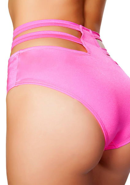 Hot Pink High Waist Strappy Shorts, Rave Short