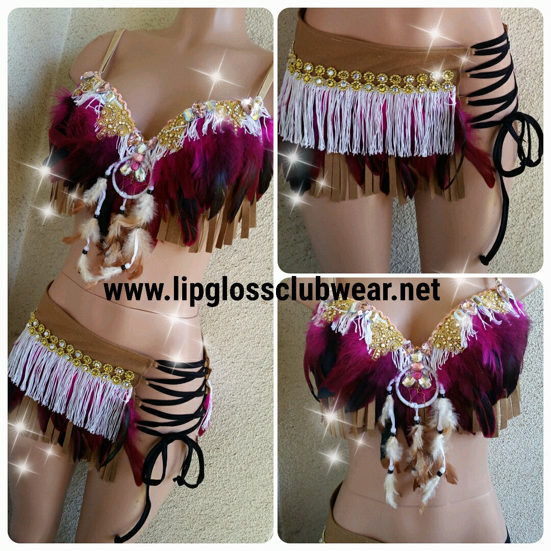 The Sexy Indian Pink Fringe Costume