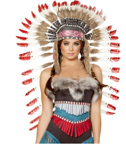 H4727 - INDIAN HEADDRESS WITH RED TIPS