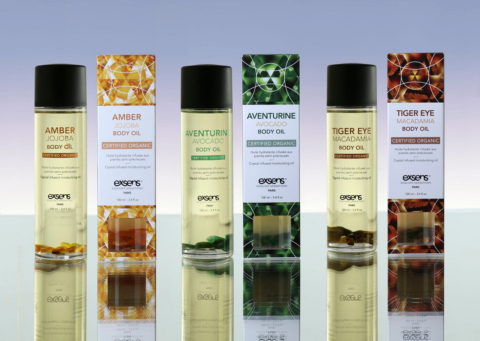 EXSENS Organic Crystal Body Oils for Hair and Skin