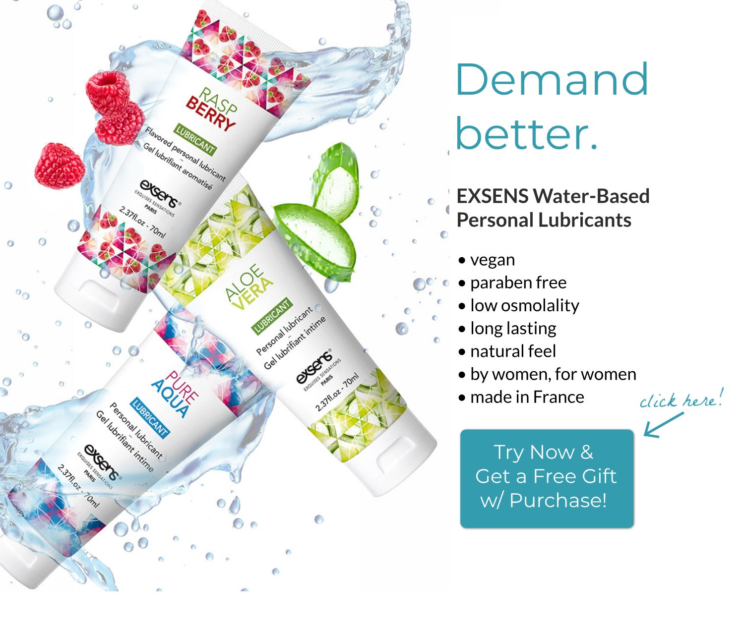 Vegan Paraben Free Lube from EXSENS Free Gift With Purchase