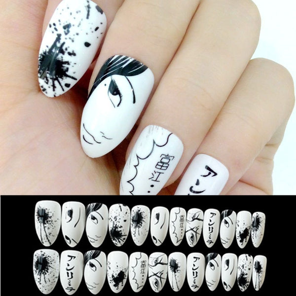 Wholesale Artificial Fake Nails Black White Cartoon False Nails Tip Acrylic Stiletto Nails Japanese Style Lady Manicure Tool