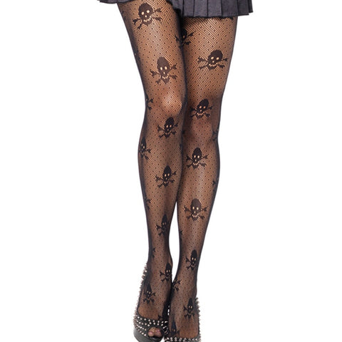 Hot Sale Women Sexy Tights Halloween Skulls Printed Ultra Sheer Open Net Pantyhose Tights Designer Tights Stockings