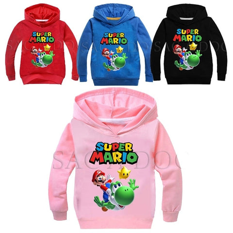 Kids Super Mario Bros Hoodie Fashion Casual Boys Girls Cotton Sweatshirts Tops Child Pullover Sportswear Tops Gift for Children