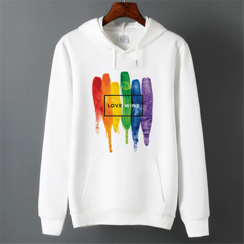 Men Pride Lgbt Gay Love Lesbian Rainbow Fleece Hoodies Sweatshirts Unisex Winter Harajuku Love is Love Sweatshirts Hoodies
