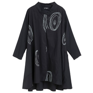 [EAM] 2020 New Spring Stand Collar Long Sleeve Black Paisley Printed Loose Big Size Shirt Women Blouse Fashion Tide JE58001M