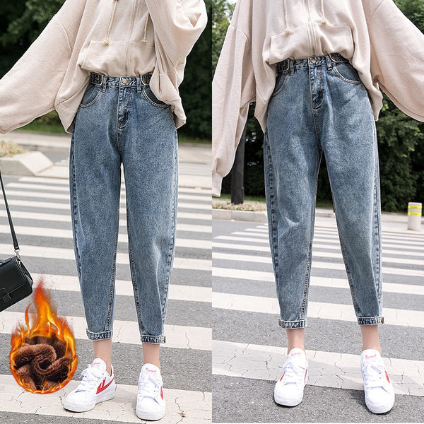 LIBERJOG Woman Jeans Velvet Thickening Harem Pants Loose Mid Waist Wide Leg Ankle Length Winter Thin Pants