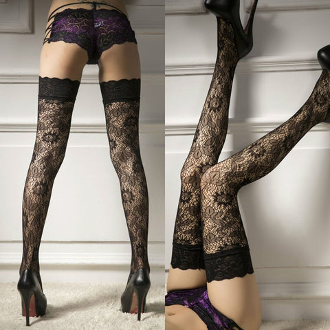 Women Sheer Stockings Sexy Underwear Lace Lingerie Sexy Hot Erotic Fishnet Stockings High Elastic Hold-ups Stay Up Stockings