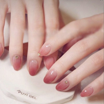24 pieces False Nail Full Cover Fake Nail Crystal Elegant Pink Gradient French Short Nails Ellipse Shape Short Fake Nail