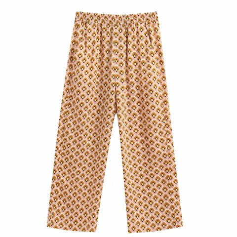 2020 women vintage geometric print straight pants female casual ankle length trousers office wear pockets pantalones mujer P607