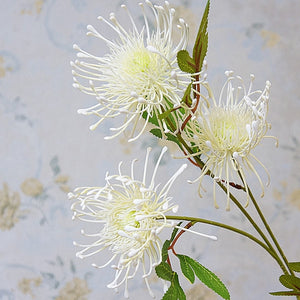 White Leucospermum Artificial Flowers Long Branch Fake Flower Plastic Flowers for Wedding Decoration Garden Outdoor High Quality