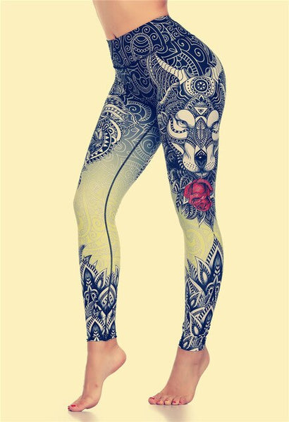 LI-FI Original Wolf Print Leggings Women Yoga Pants Gym Leggings Fitness Sports Wear Elastic Tight Yoga Leggings