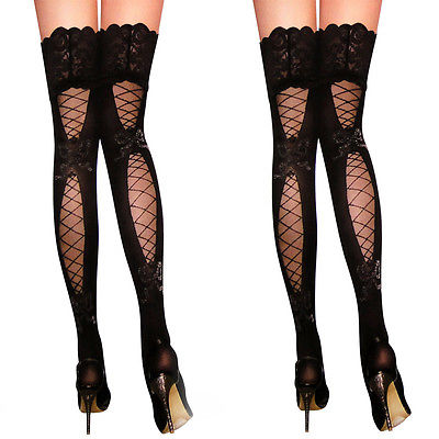 Sexy Lingerie Stockings Women Lady Sheer Lace Top Stay Up Thigh High Hold-ups Over The Knee Fishnet Stockings Pantyhose